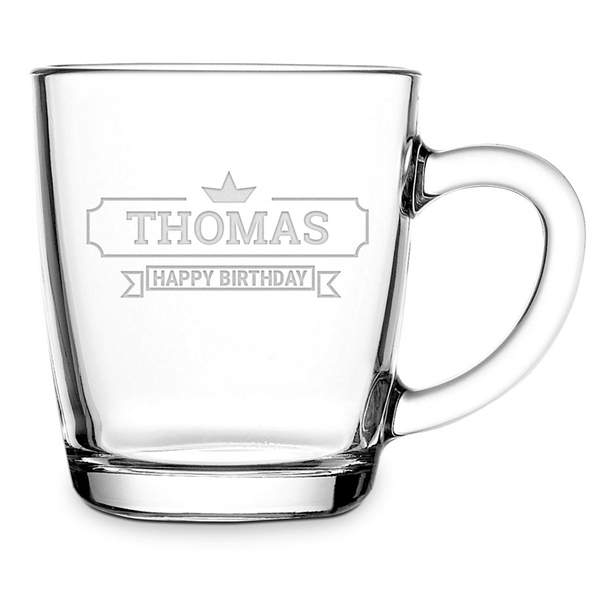 Theeglas - met naam - happy birthday - thomas