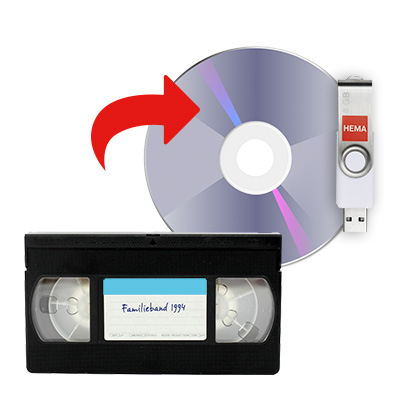 Videoband naar DVD of USB-stick